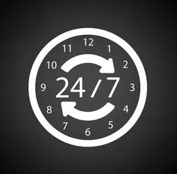 Logo of a clock that indicates a service offered 24 hours a day, 7 days a week in Granby.