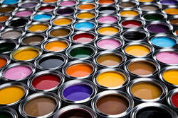 A panoply of open paint pots with different colors in Granby.